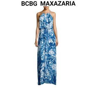 BCBG MAXAZARIA RUFFLE HALTDER NECKLINE DRESS